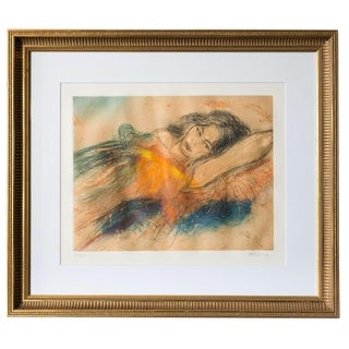 Mid-Century Lady in Repose Lithograph