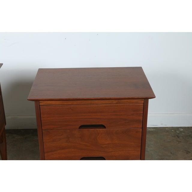 Mid-Century Walnut Nightstands - A Pair - Image 8 of 11