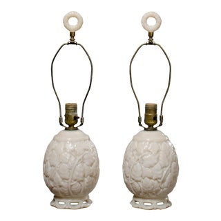 White Glass Aladdin Lamps - A Pair