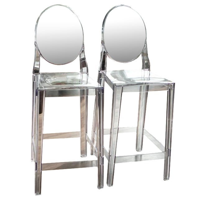 Kartell one more ghost counter stools a pair chairish - Ghost bar stools counter height ...