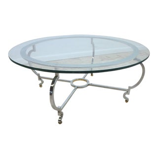 John Stuart Chrome & Steel Round Coffee Table