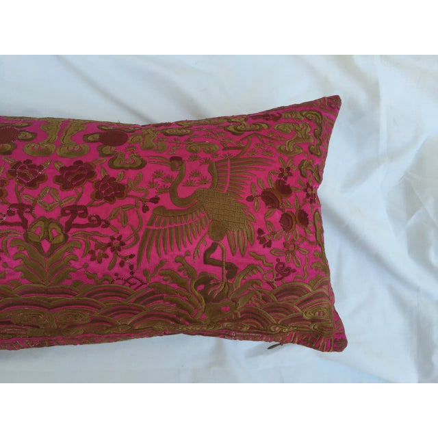 Chinoiserie Pink Silk Crane Boudoir Pillow - Image 6 of 7