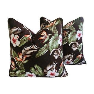 Bird of Paradise & Hibiscus Pillows - Pair