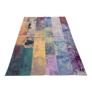 Vintage Turkish Curtain Kilim Patchwork Rug- 4′3″ × 6′7″