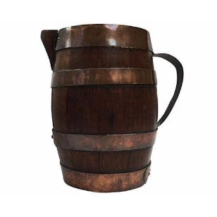 Image of French Rustic Brass & Wood Pitcher