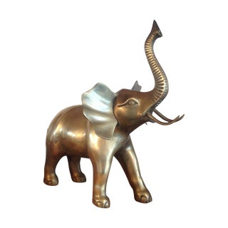 Large Vintage Brass Elephant