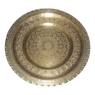 Mid-Century Vintage Moroccan Tray With Hand Carved Thuya Wood Base