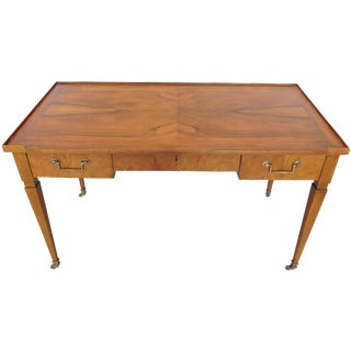 Baker Flamed Wood Desk on Casters
