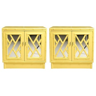 Hollywood Regency Faux Bamboo Yellow Mirrored Night Stands - A Pair