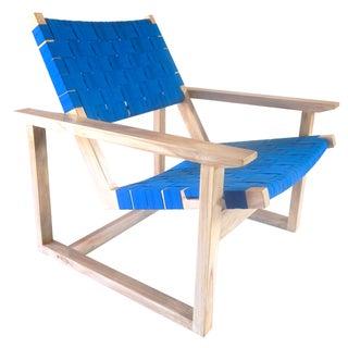 Leon Teak Blue Sunbrella Lounge Chair