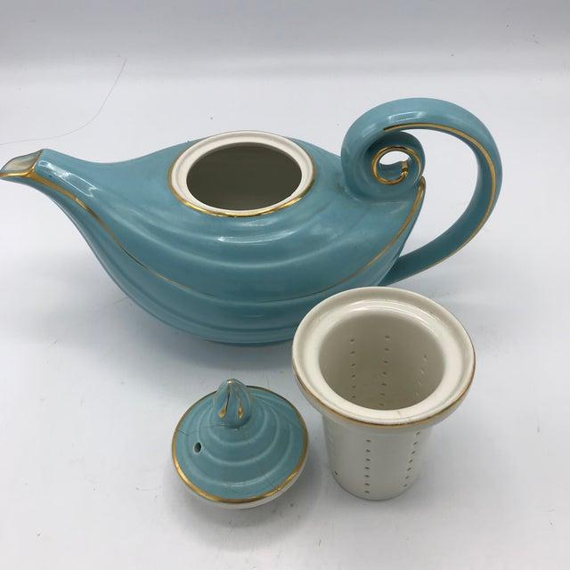 1950s Hall Tiffany Blue & Gold Aladdin's Lamp Teapot - Image 7 of 10