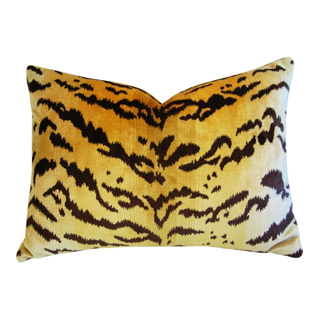 Italian Tiger Stripe & Mohair Pillow - Image 1 of 5