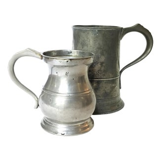 Antique English Pewter Tankards - Set of 2