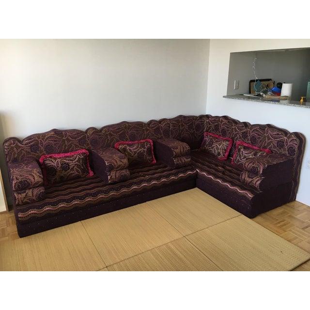 Abu Akram Son's Middle Eastern Dark Purple Sectional Sofa