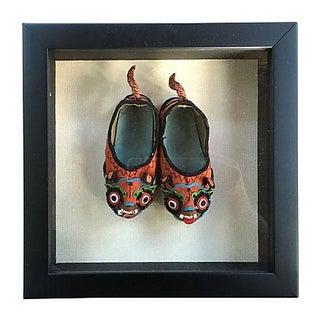 Chinese Foo Dragon Silk Shoes Shadow Box