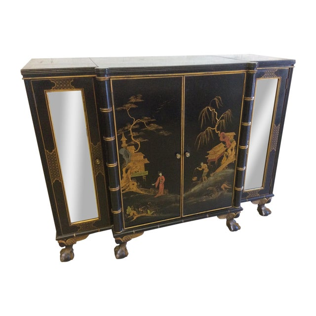 Vintage Chinoiserie-Style Flip Top Bar or Buffet - Image 1 of 9