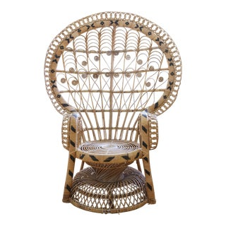 Vintage Rattan and Wicker Peacock Chair