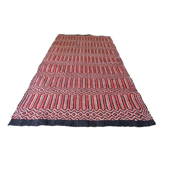 "Vintage Handwoven Red Wool Rug - 2'7"" x 5'1"" - Image 1 of 5"