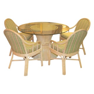 McGuire Sheaf of Wheat Glass Top Dining Set