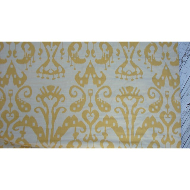 Set of 4 Custom Yellow Gold Cream Ikat Shades - Image 8 of 10