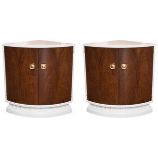 Lacquered Mid-Century Modern Corner Cabinets