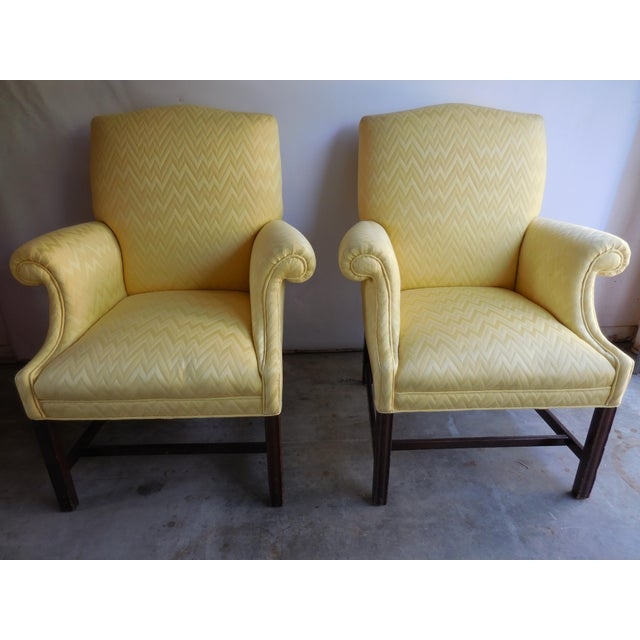 Vintage Yellow Fabric Bergere Chairs - A Pair - Image 2 of 7
