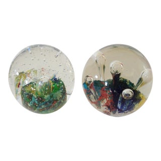Blue & Green Bubble Paper Weights - A Pair