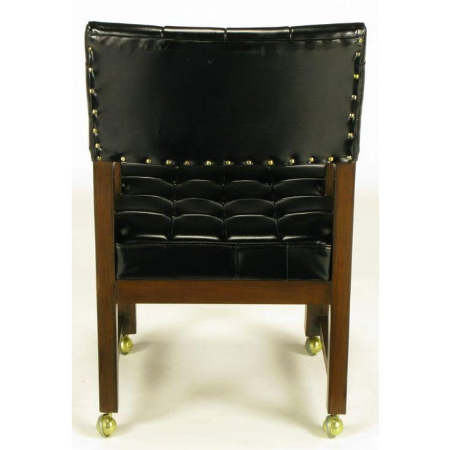 Black Button Tufted Mahogany Frame Desk Chair - Image 5 of 8
