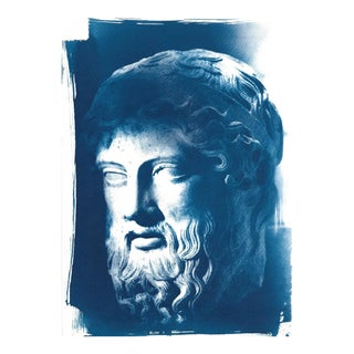 Roman Man With Beard Bust Sculpture, Cyanotype Print, A4 Size (Limited Edition)