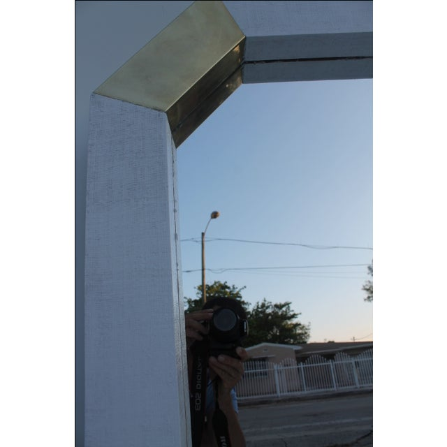 Karl Springer Style Cane and Brass Wall Mirror - Image 9 of 10