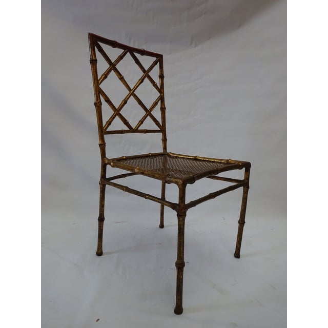 Italian Faux Bamboo Gold Dining Chairs - S/4 - Image 4 of 8