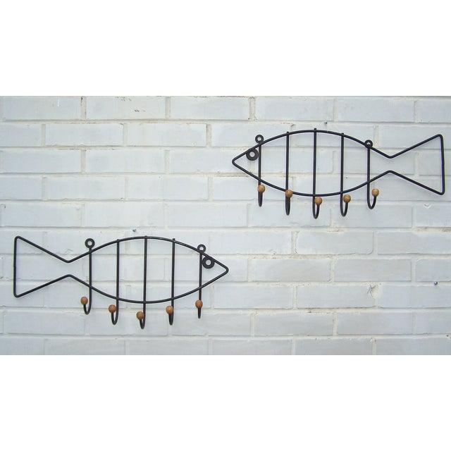 Vintage Pair Iron & Wood Fish Coat Hooks - 2 - Image 3 of 7