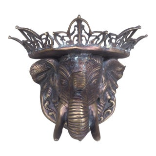 Vintage Solid Brass Elephant Wall Shelf Sculpture