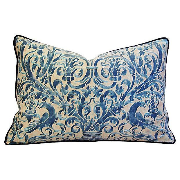 Custom Designer Italian Fortuny Uccelli Feather/Down Pillows - Pair - Image 5 of 10