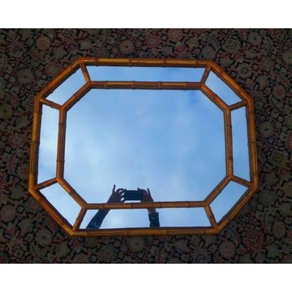 Hollywood Regency Octagonal Faux Bamboo Mirror - Image 3 of 4