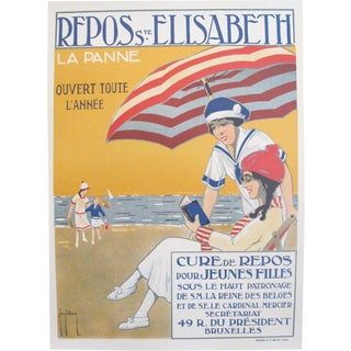 1920s Vintage Travel Poster, Original Art Deco Print, Repos Ste. Elisabeth by Francis Delamare