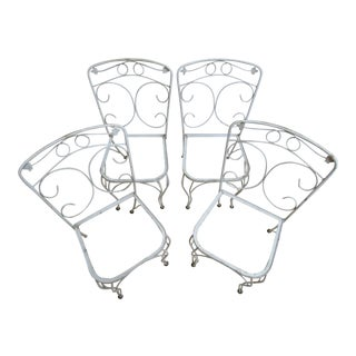 Vintage Woodard Ivy Iron Outdoor Patio Side Chairs - A Pair