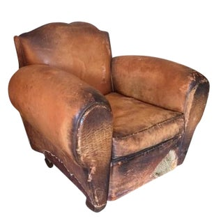 Distressed European Leather Club Chair
