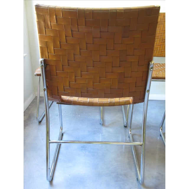 Modern Woven Leather Dining Chairs - Set of 4 - Image 4 of 8