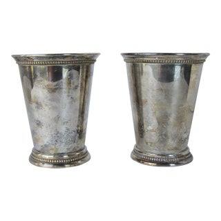 Large Silver Plate Julep Cups - A Pair