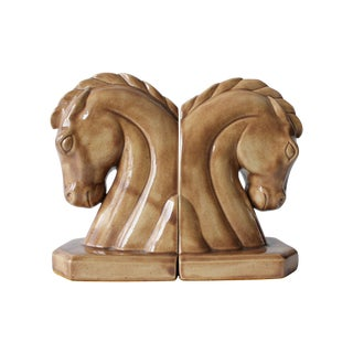 Caramel Ceramic Horse Head Bookends - A Pair