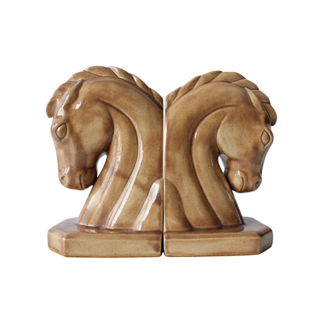 Caramel Ceramic Horse Head Bookends - A Pair - Image 1 of 6