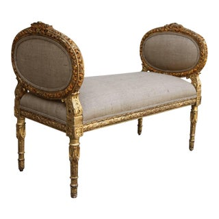 Carved Giltwood Louis XVI Style Bench
