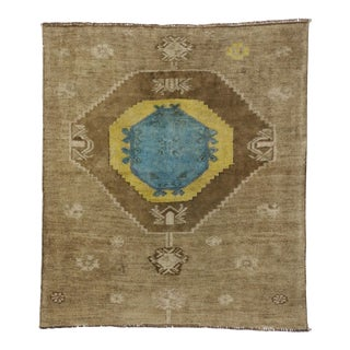 Vintage Turkish Oushak Runner with Modern Contemporary Style, 3'11 x 4'4