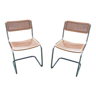Marcel Breuer Cesca Style Cane & Chrome Chairs - a Pair