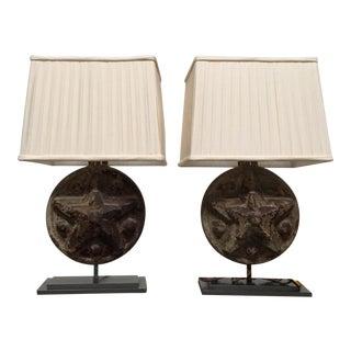 Circa 1860 Antique Iron Star Table Lamps - A Pair