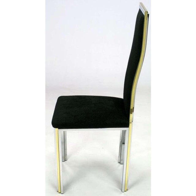 Six Chrome & Brass Dining Chairs Attributed to Romeo Rega - Image 3 of 8