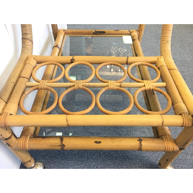 Vintage Bamboo & Rattan Bar Cart - Image 5 of 6