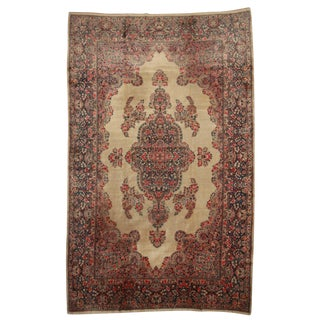 Antique Persian Kerman Hand Knotted Wool Rug- 9′6″ × 15′6″