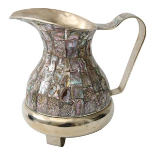 Abalone and Silver Plate Water Pitcher
